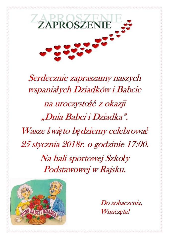 Dzień Babci I Dziadka Zaproszenie Wiadomości Z Sp Rajsko